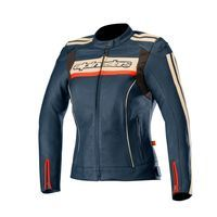 Alpinestars Stella Dyno V2 Leather Jacket Navy Stone Red Lady