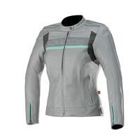 Alpinestars Stella Dyno V2 Leather Jacket Cool Gray Aqua Lady