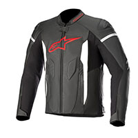 Alpinestars Faster Leather Jacket Black Bright Red