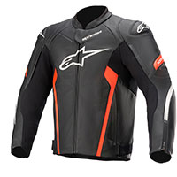 Alpinestars Faster V2 Leather Jacket Black Red