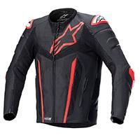 Alpinestars Fusion Leather Jacket Black Red Fluo