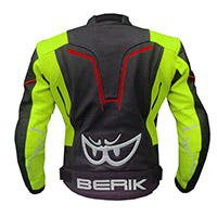 Berik Sport Air Leather Jacket Black Yellow Fluo