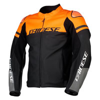 Dainese Agile Leather Jacket Noir Orange