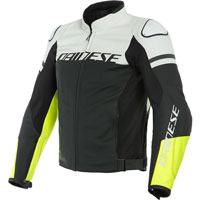 Dainese Agile Leather Jacket White Yellow