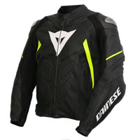 Dainese Avro D1 Giacca In Pelle Nero Giallo Fluo