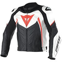 Dainese Avro D1 Giacca In Pelle Biaonco Rosso