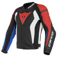 Dainese Nexus Leather Jacket Black Red White Blue