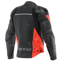Giacca Pelle Dainese Racing 4 Nero Rosso Fluo