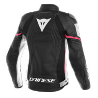 Dainese Racing 3 Lady Leather Jacket Nero Bianco Rosa Donna