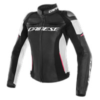 Dainese Racing 3 Perforata Lady Leather Jacket Nero Bianco Rosa Donna