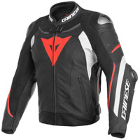 Dainese Super Speed 3 Leather Jacket Black Fluo Red