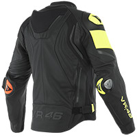 Dainese Vr46 Victory Leather Jacket Black Yellow