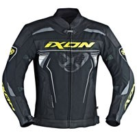 Ixon Frantic Leather Jacket Black White Yellow Fluo
