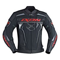 Ixon Frantic Leather Jacket Black White Red