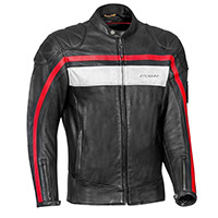 Ixon Pioneer Leather Jacket Black White Red