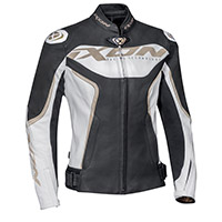 Ixon Trinity Lady Leather Jacket White Black Gold