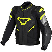 Macna Ripper Leather Jacket Black Fluo Yellow