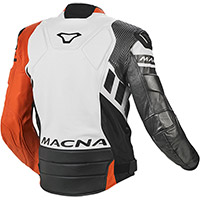 Macna Tracktix Leather Jacket Orange White Grey