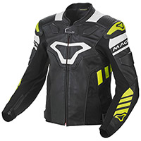 Macna Tracktix Leather Jacket Black White Yellow