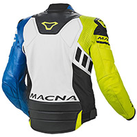 Macna Tracktix Leather Jacket White Yellow Blue