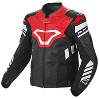Macna Tracktix Leather Jacket Black White Red