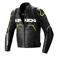 Spidi Evorider 2 Leather Jacket Black Yellow Fluo