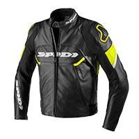 Spidi Ignite Leather Jacket Black Fluo Yellow