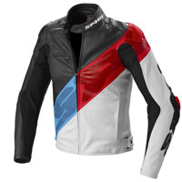 Spidi Super-r Leather Jacket White Red Blue