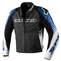 Spidi Track Warrior Leather Jacket Black Blue
