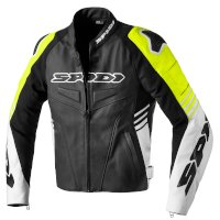 Spidi Track Warrior Leather Jacket Black Yellow
