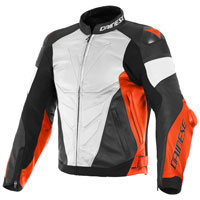 Giacca In Pelle Traforata Dainese Super Race Bianco Rosso