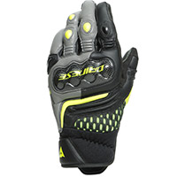Dainese Carbon 3 Short Gloves Grey Fluo Yellow