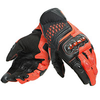 Dainese Carbon 3 Short Gloves Black Fluo Red