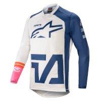 Maillot Alpinestars Racer Compass 2021 Blanc Bleu