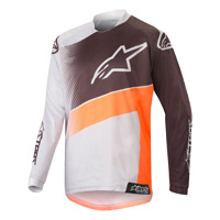 Alpinestars Youth Racer Supermatic Jersey 2019 Light Gray Orange Fluo Black Kinder
