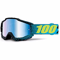 100% Accuri Snowmobile Goggle R-core Mirror Blue Vented Dual Lens W/pins
