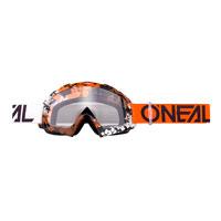 O'neal B10 Pixel Goggle Clear Arancio Bianco