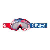 O'neal B10 Pixel Goggle Clear Rosso Blu
