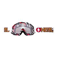 O'neal B10 Stream Goggle Clear Bianco Rosso