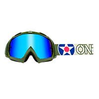 O Neal B-10 Warhawk Goggle Green Lens Blue