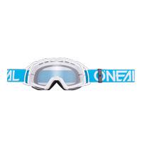 Oneal B20 Flat Goggles Clear Blu Bianco