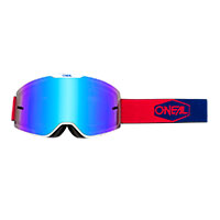 O Neal B-20 Plain Goggle Red Blue Lens Blue