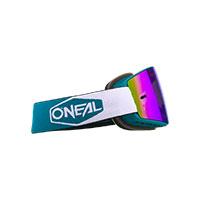 Maschera O Neal B-20 Plain Teal Rosso Lente Blu