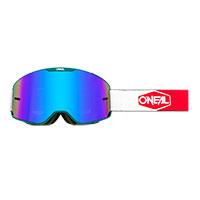 O Neal B-20 Plain Goggle Teal Red Lens Blue