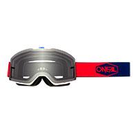 O Neal B-20 Plain Goggle Red Blue Lens Grey