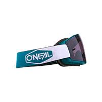 Maschera O Neal B-20 Plain Teal Rosso Lente Grigio