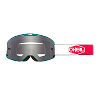 O Neal B-20 Plain Goggle Teal Red Lens Grey