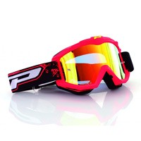 Progrip 3204fl Mx Goggles Shiny Side Multilayered Mirrored Red Fluo