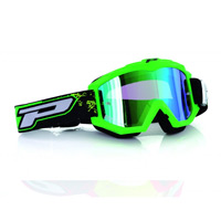Progrip 3204fl Mx Goggles Shiny Side Multilayered Mirrored Green Fluo