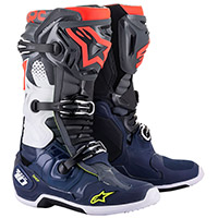 Alpinestars Tech 10 Boots Grey Blue Fluo Red